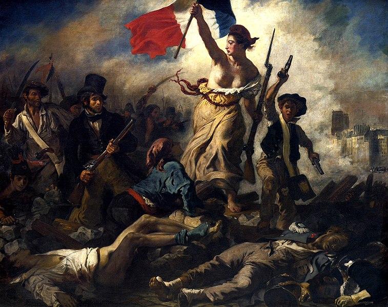 La liberté guidant le peuple, Eugène Delacroix, 1830,  260x325 cm, Musée du Louvre.