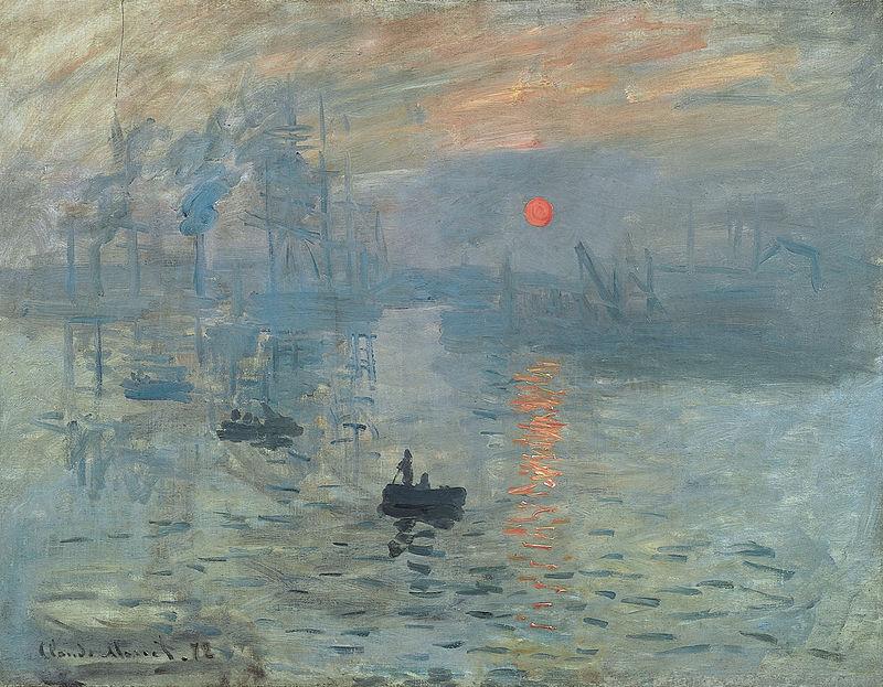 Le ton général de Impression, soleil levant de Claude Monet est dans les tons froids.