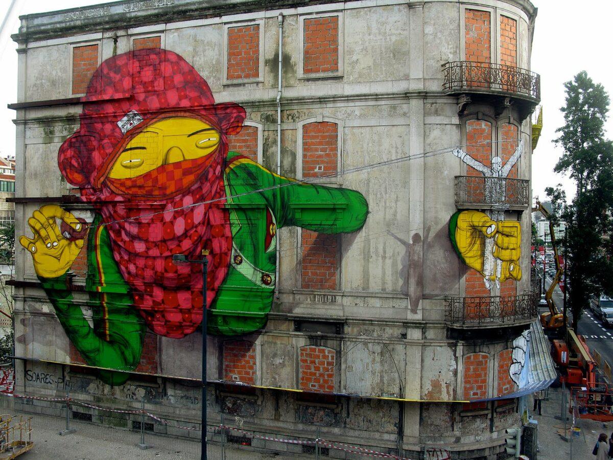 Fresque murale des deux frères artistes Os gemeos