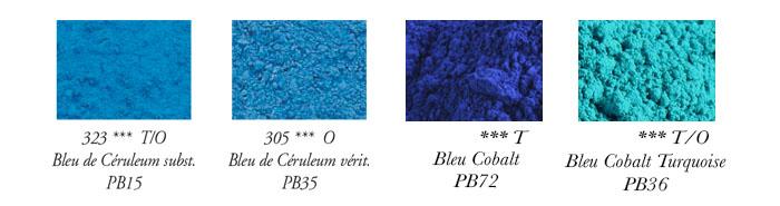 Dictionnaire des différentes nuances de bleu en peinture.