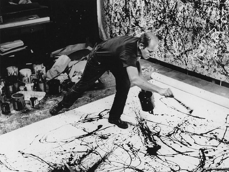 Jackson Pollock peignant dans son atelier, mai 1951,Photographie de Hans Namuth.