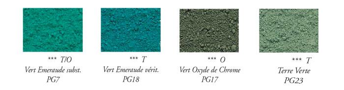 Les noms des différents verts dans les Arts-Plastiques.