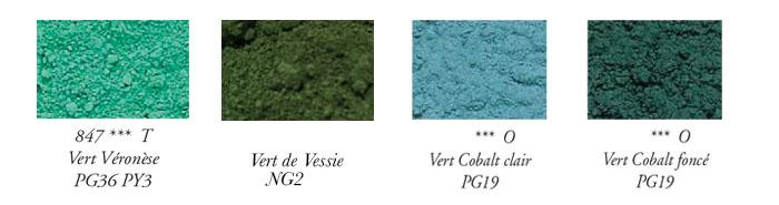 Liste des noms utilisés pour la couleur verte.