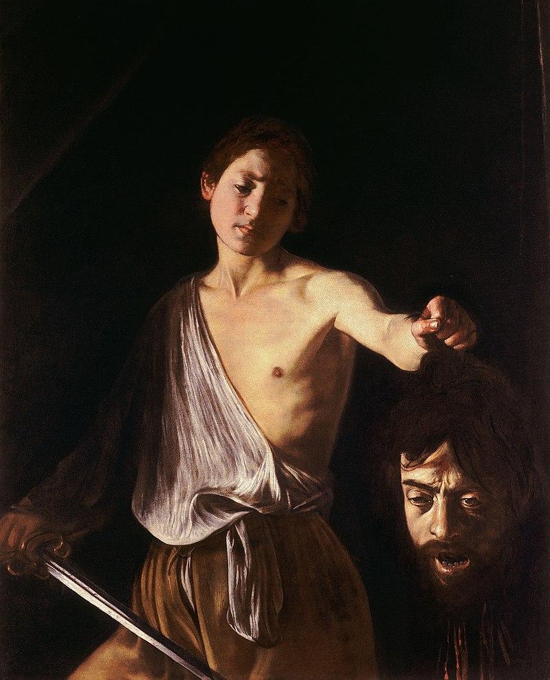 Tableau du peintre Le Caravage representant David avec la tête de Goliath