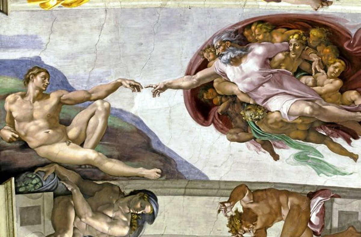La création d'Adam, fresque de la chapelle Sixtine de Michel Ange