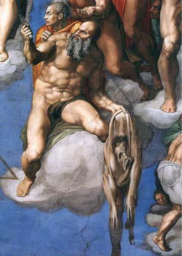 Détails de la fresque du Jugement Dernier représentant Saint Barthélémy tenant sa propre peau.