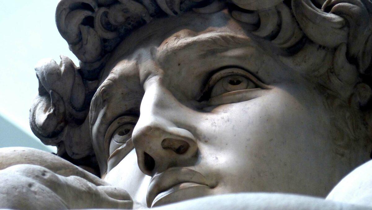 Détail de la sculpture du David de MichelAngelo